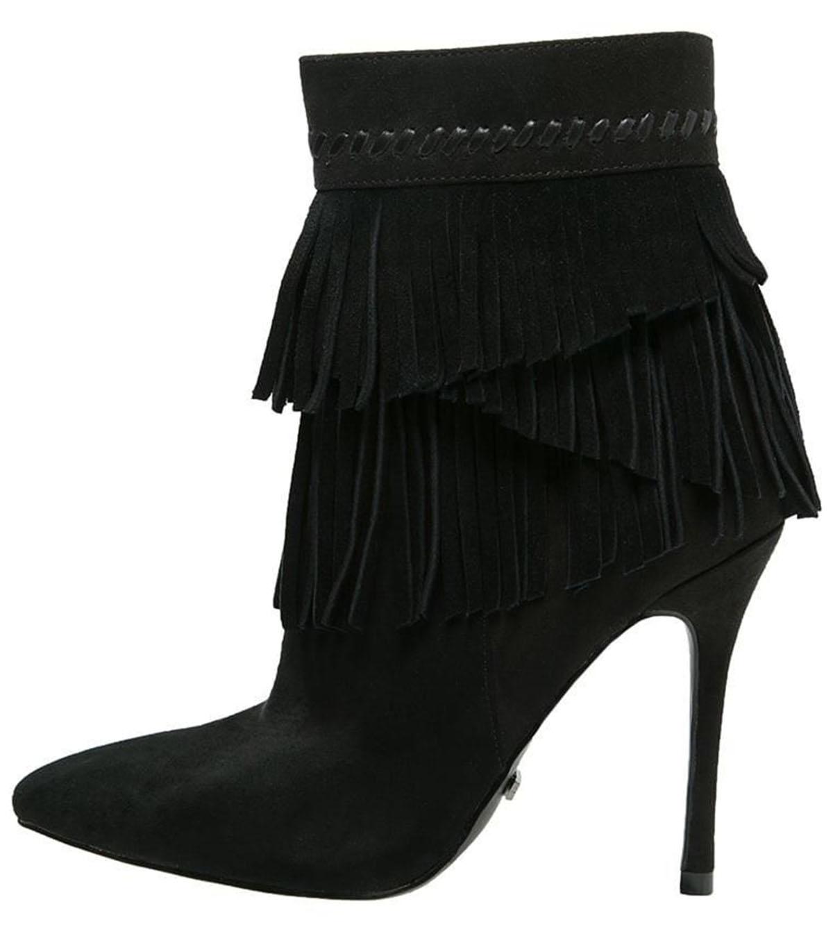 Dettagli su Primadonna COLLECTION nero pelle e tessuto alla caviglia stiletto stivali Nero 7UK mostra il titolo originale